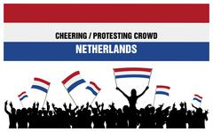 Cheering or Protesting Crowd Netherlands Stock Illustration