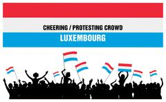 Cheering or Protesting Crowd Luxembourg Stock Illustration