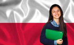 Teen student smiling over Polish flag - stock photo