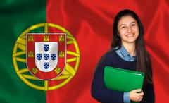 Teen student smiling over Portuguese flag Stock Photos