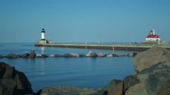 LIGHTHOUSE in Duluth MINNESOTA WIDE Stock Footage