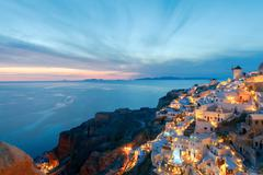 View of the village Oia at night. Stock Photos