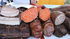 Bacon ham and sausages  at the market  Stock Footage