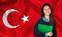 Teen student smiling over Turk flag Stock Photos