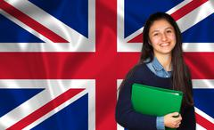 Teen student smiling over English flag Stock Photos