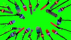 Boom pole microphones on green screen, 3D animation Stock Footage