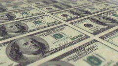 3d animation of printing 100 dollar notes seamless looping 4K Stock Footage