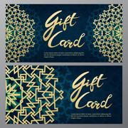 Gold gift certificates in the Arabic style - stock illustration