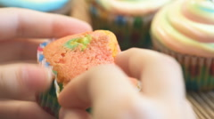 Brightly colored cupcakes. Stock Footage