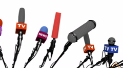 Camera movement along a plurality of microphones, looping, 3D animation Stock Footage