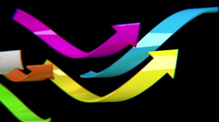 Colorful arrows on black background, 3D animation, seamless loop - stock footage