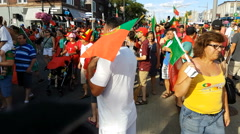 Fans in the streets of Toronto celebrate Portugal world euro cup Stock Footage