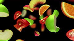 Fruit segments fall in the abyss, seamless loop, CG Stock Footage