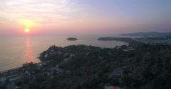 Sunset View Across Kata and Karon Beaches Phuket Thailand Aerial Ascending Shot Stock Footage