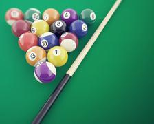 Billiard balls on the green table, with cue. 3d illustration Stock Illustration