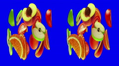 Horizontal anamorphic stereo pair, fruits rotate on blue, seamless loop, 3D Stock Footage