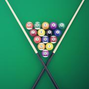 Billiard elements on a green table. 3d illustration Stock Illustration
