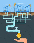 Transform oil to money concept. Get cash from pipe. Fuel pumps. Vector - stock illustration