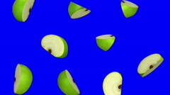 Pieces of green apple falling on blue screen, seamless loop, CG - stock footage