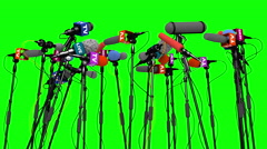 Set of microphones for press conference, 3D animation on green screen - stock footage