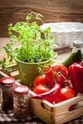 Vegetables in a wooden box. - stock photo