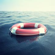 Red life buoy on the waves as a symbol of help and hope. 3d illustration Stock Illustration