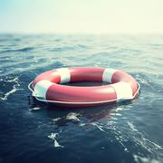 Red lifebuoy floating in the sea. 3d illustration - stock illustration