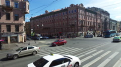 View of the Nevsky Prospekt in St. Petersburg. Russia Stock Footage