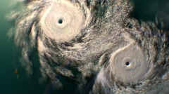 Zoom out from two hurricanes, CG animation. Stock Footage