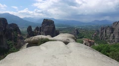 Inspiring view of Meteora valley, Greece Stock Footage