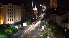 Night European city timelapse (roads of Belgrade) Stock Footage