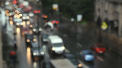 Traffic in evening city Stock Footage