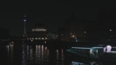 Timelapse Of Berlin Party Boats With Lightshow Stock Footage