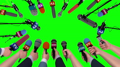 Boom pole microphones and hands with microphones on green, 3D animation Stock Footage