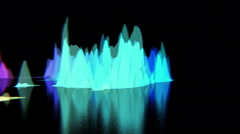 Colorful abstract hills oscillate madly on black surface, CG, seamless loop Stock Footage