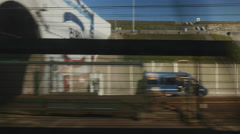 Eurotunnel train entering tunnel Stock Footage