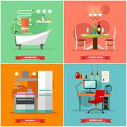 Home interior vector illustration in flat style. House design with furniture Piirros