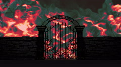 Gate to Hell open on fiery background, 3D animation Stock Footage