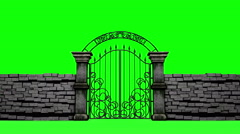 Gothic gates open on green background, 3D animation Stock Footage