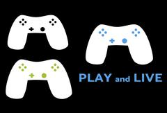 White game controller with black, green or blue buttons on black background Stock Illustration