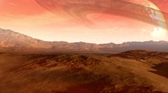 Mars-like red planet with moon Stock Illustration