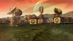 Scientific settlement and colony on an arid planet - stock illustration