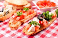 Fresh mini sadnwiches - stock photo