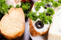 Vegetarian mini sandwich - stock photo