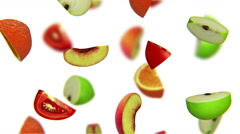 Lobules of fruits falling on white background, alpha matte, CG Stock Footage
