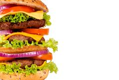 Triple hamburger half Stock Photos