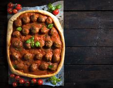 Meatballs and tomato sauce pizza Stock Photos