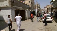Palestinian Refugee Camp Amari in Ramallah Street Scene Stock Footage