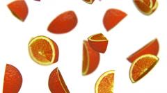 Lobules of orange falling on white background, alpha matte, CG Stock Footage