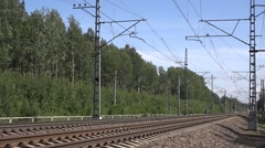 Allegro train from St. Petersburg to Helsinki runs along forest Stock Footage